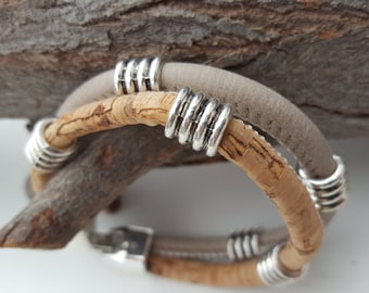 double strand cork and synthetic leather Bracelet
