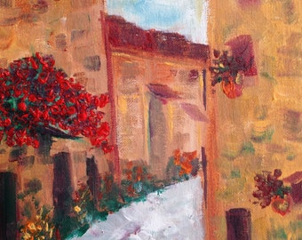 Provence  Parisian Cobblestone Street  Abstract Palette Knife Painting. 8x10