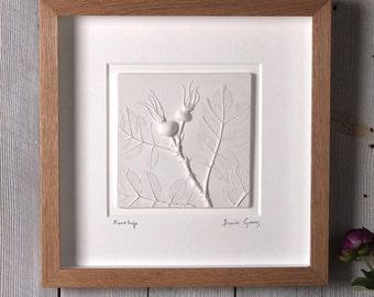 Rose Hip plaster cast tile, framed, limited edition, botanical art, flower tile, nature tile, gifts for her, gifts for Christmas