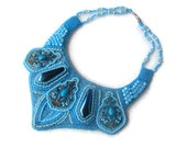 Bead embroidery necklace - bright blue turquoise necklace - beadwork necklace - oriental style tribal necklace - romantic