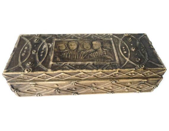 Vintage italian handmade hand carved pencil box