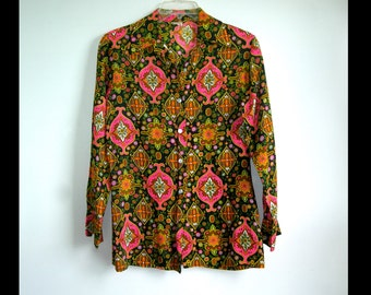Fantastic Rare 60s Joyce Lane Neon Trippy Paisley Psychedelic Design Blouse  ~Size US Womens Size Medium~ see Dimensions