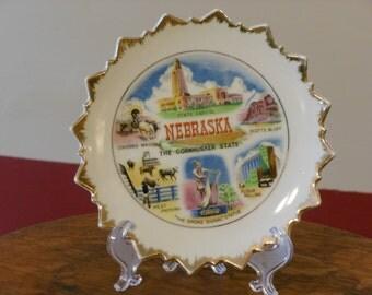 Nebraska, The Cornhusker State, Vintage Souvenir Plate