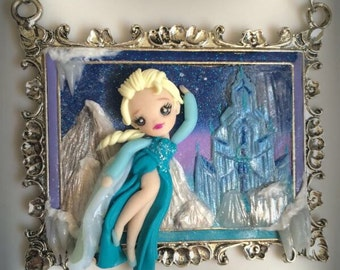 Necklace cameo handmade polymer clay doll Elsa Frozen