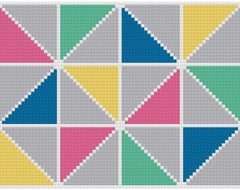 Modern Pastel Triangle Cross Stitch Pattern