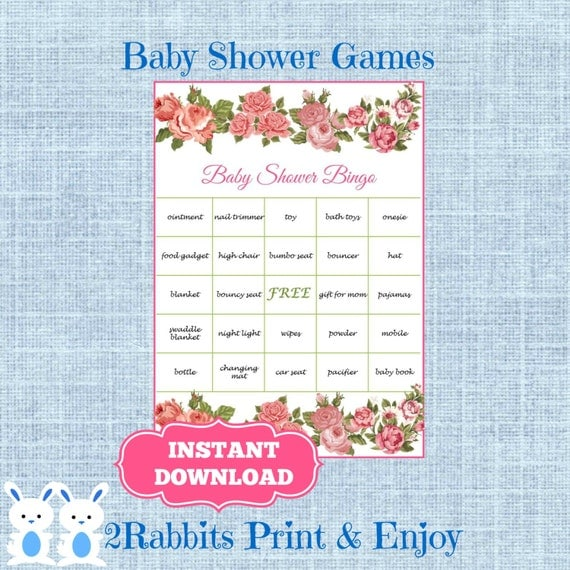 words blossom flower bingo gift baby shower printable baby shower