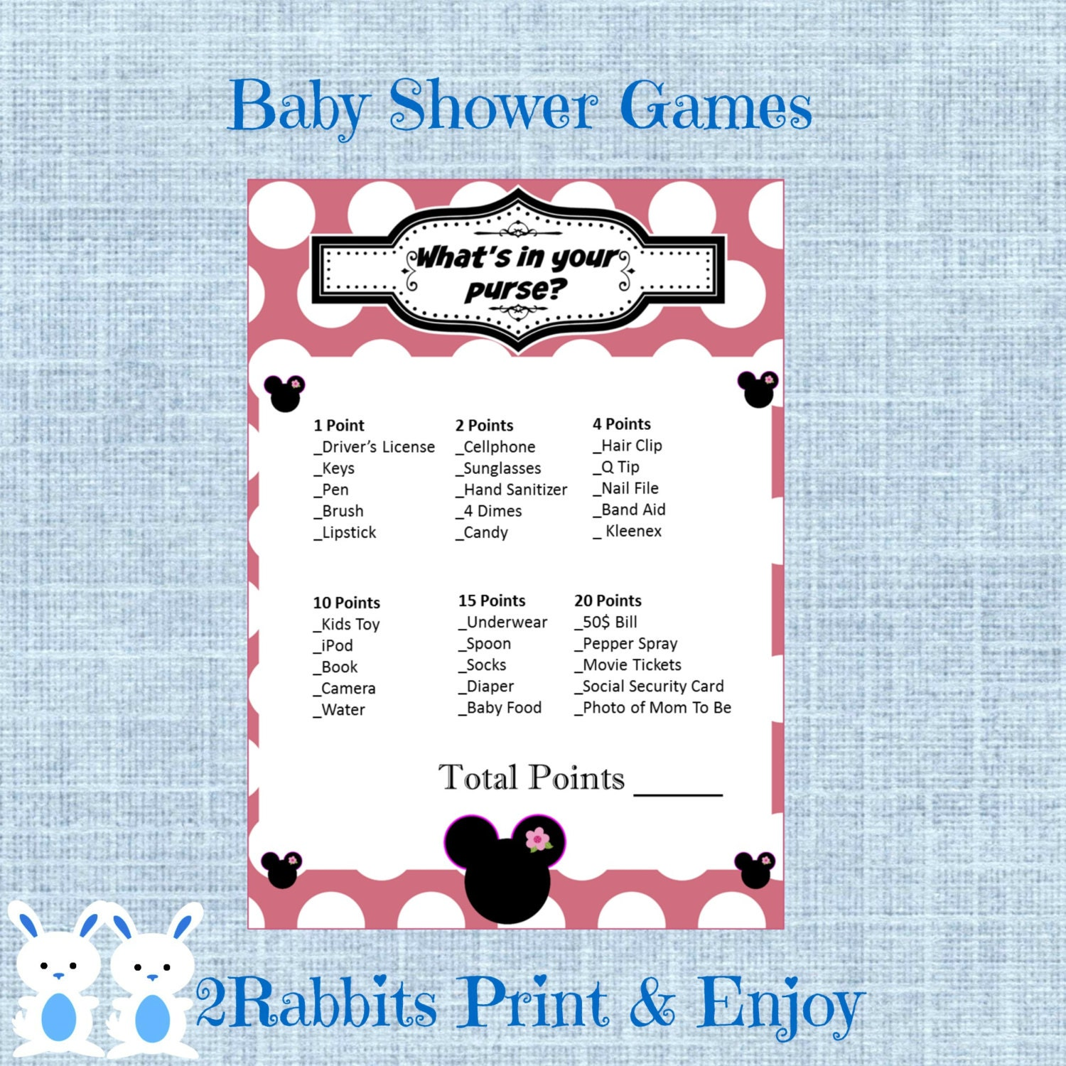 minnie mouse what 39 s in your purse baby shower game minnie