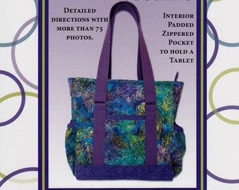 MINI PROFESSIONAL TOTE - Zippered Pocket To Hold A Tablet  By: The Creative Thimble