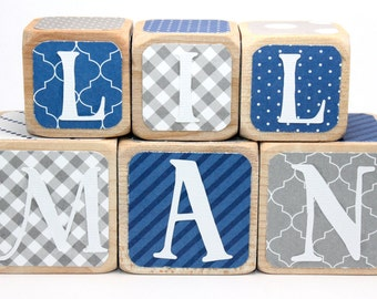 Personalized Wooden Blocks - Lil Man - Baby Boy Nursery - Navy Blue and Grey - Wood Blocks - Baby Blocks - 1.5 and 2 Inch