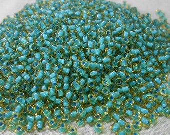 Topaz Colorlined Teal Miyuki 8/0 Seed Beads, 30 grams (8-374A)