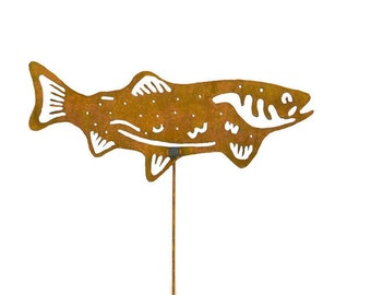 Salmon Metal Garden Stake, Yard Art GS46