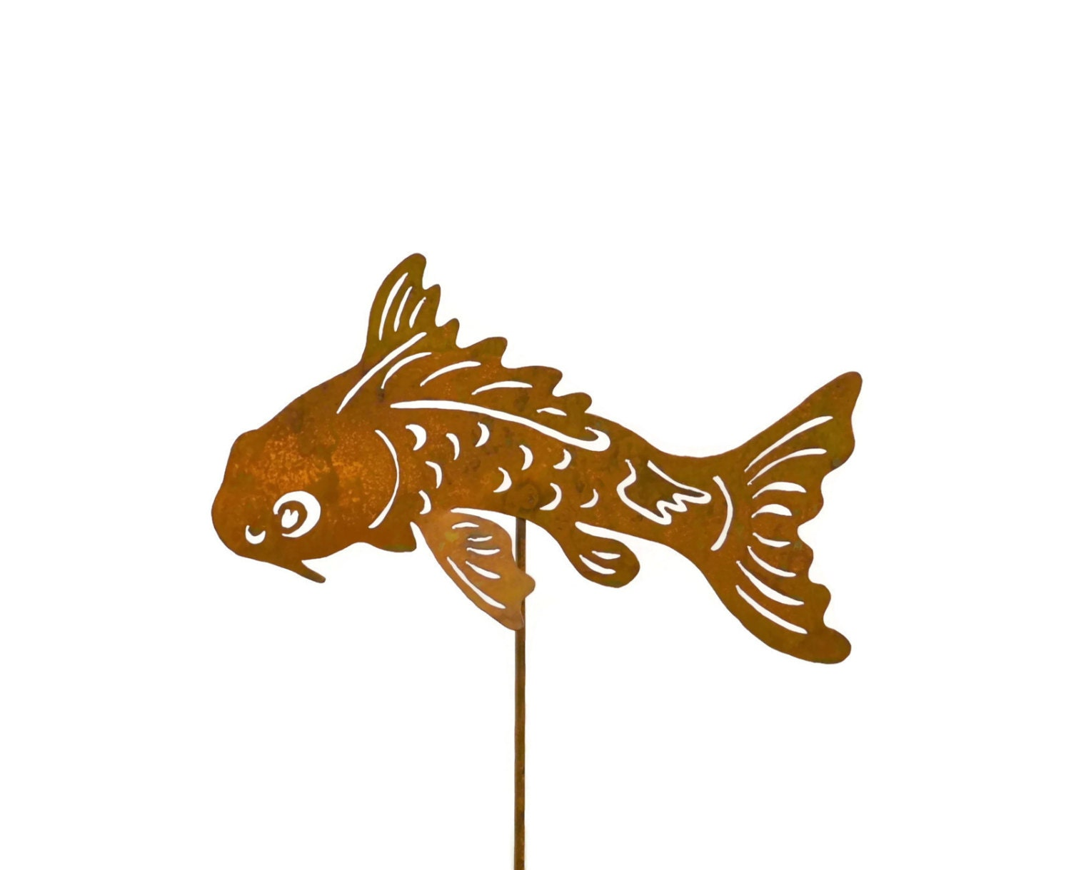 Koi fish metal yard stake garden art gs101 for Koi fish metal art