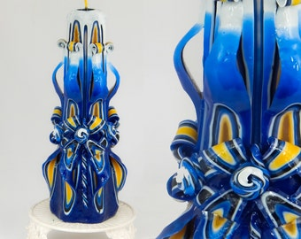 Mother's day gift, gift for mom, handmade candle, Carved candles, Blue&Yellow fantasy