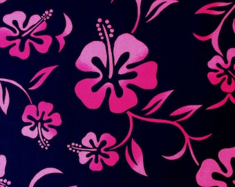 Fabric, Fuchsia Hibiscus Flower on Navy Blue, Hoffman California, One Yard or More