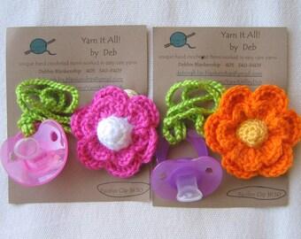 Hand Crocheted Flower Binkie Clip