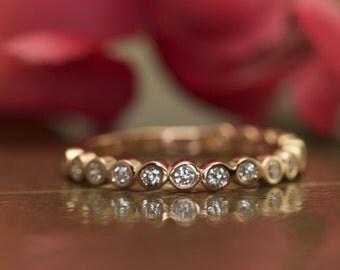 Bezel Set Diamond Wedding Band in Rose Gold, Round Brilliant Cut Bezel Set Diamonds, 3/4 Eternity, 2mm Wide, Stackable, Cadence C
