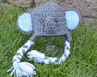 RTS Elephant hat, elephant hats, baby elephant hat, boy elephant hat, newborn elephant hat, elephant photo prop hat, blue elephant hat