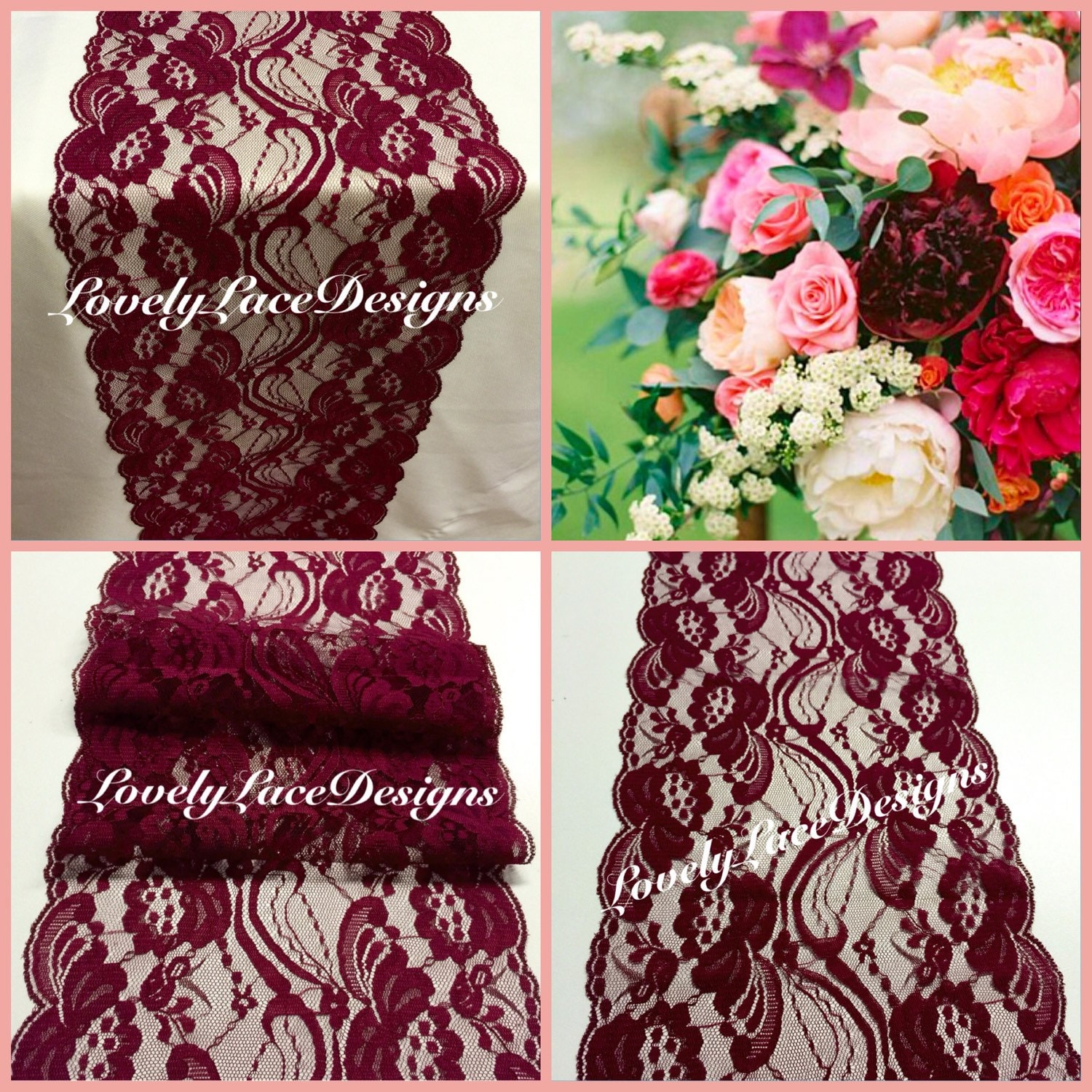 Burgundy lace table runner 12ft 20ft long x 7 by for 12 ft table runner