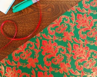 Red Green & Gold Demask Print Vintage Gift Wrap Roll 2 yards