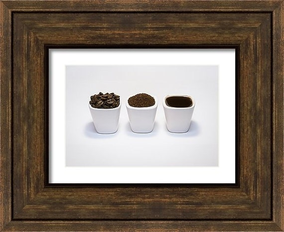 Fine Art Photography, Kitchen Decor, Coffee Wall Art, Rustic Home Decor, Coffee Art Print, Brown White Black Grey, 5x7 8x10