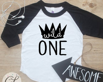 Birthday Boy Shirt / Baby Boy Clothes Wild One Crown 1 Year Old Outfit First Birthday TShirt 1st Birthday Boy Cake Smash Raglan Toddler 021