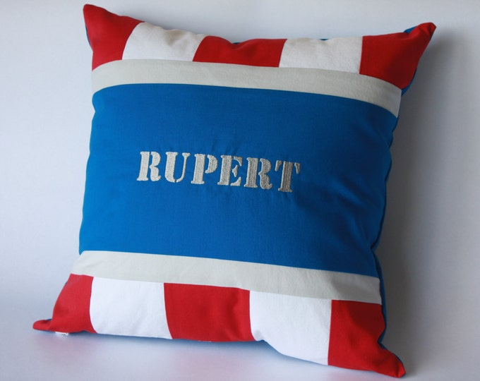 Superhero Pillow/Superhero Baby Pillow--Red, White, and Blue--with embroidery!-MTO