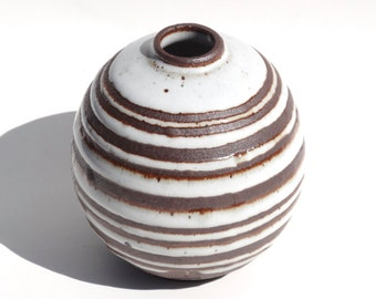 Handmade white ceramic bud vase with exposed black/brown clay stripes MADE TO ORDER