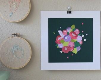 Floral Print//Digital Illustration//Pinks and Purples