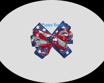 Puppy Bows ~ wild loop 4th July patriotic RHINESTONE FLAG dog pet hair bow - USA made and sold