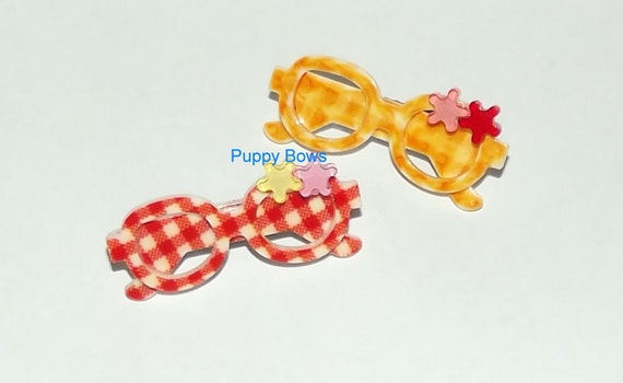 Puppy Dog Bows ~ Red or Yellow Gingham sunglasses barrette with tiny flowers pet hair Yorkie bow