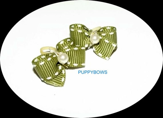 Puppy Bows ~Boys assorted sets of dog bow BLUE green burgundy pet hair bows Maltese ~USA seller