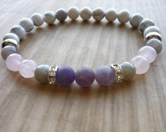 Stress Reduction Mala Bracelet, Healing & Balancing, Mala Bracelet, Yoga, Buddhist, Meditation, Prayer Beads