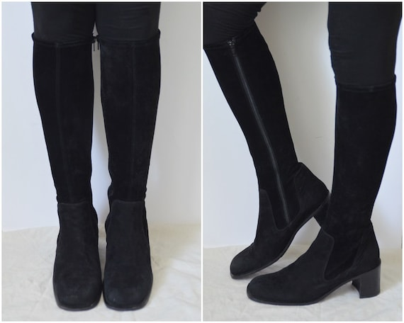 black suede sock boots leather knee high boots tight fitted