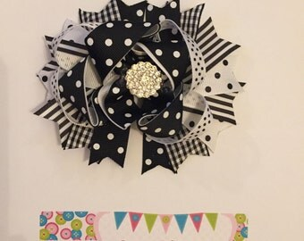 Black and White Over the Top Hair Bow