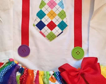 Rainbow Clown Tie and Suspender Tutu Outfit With Hat