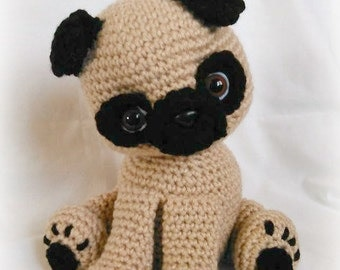 Knitted Pug Pattern : Crochet pug Etsy