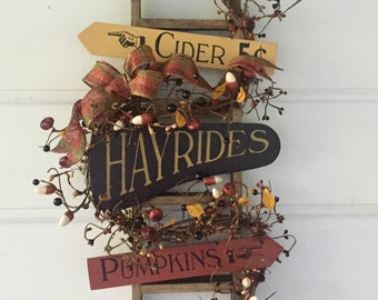 Autumn Decorative Ladder. Country Fall Decor.  Cider, Hayrides, Pumpkins. Rustic Fall Decor, Fall Porch Decor