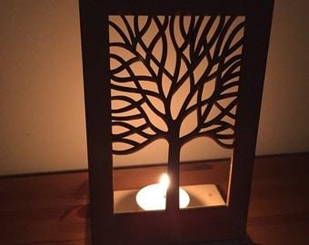 Tree motif tea light holder - laser cut from birch wood