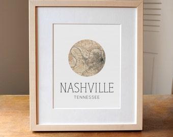 Nashville Map, Map of Nashville, Nashville Art, Nashville TN, Tennessee Gift, Nashville GIft