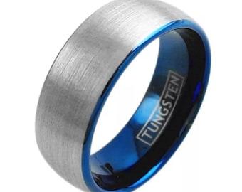 Men S Thin Blue Line Black Amp Blue Tungsten Carbide Ring