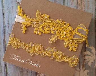 Wedding garter set, Yellow Garter, Rhinestone Yellow Garter, Bridal garters Yelow,bridal garter,Floral lace garter,Garter Set