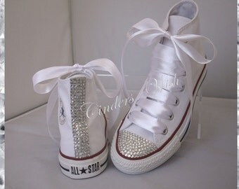 Classic sparkle converse / high top bling converse / customised diamante converse / wedding converse /