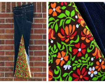 Size 12 Hippie Jeans Bell Bottom Jeans Patchwork Upcycled Wide Leg Hippie Pants Flared Trousers Reconstructed Jeans Altered Clothing