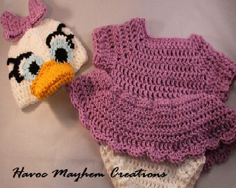Crochet Baby Daisy Duck Costume or Photo Props.
