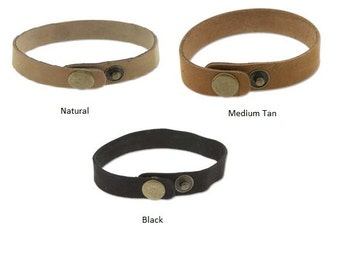 """Black Natural or Medium Tan Leather Cuffs with Snaps, .5"""" Wide, Qty 1 to 10 Genuine Leather Wristband 1/2"""" Cuff Blank Hand Stamping Supplies"""