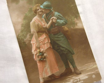 Edwardian RP photo POSTCARD  - 1916 Used Romantic Couple, Soldier Wartime, WWI