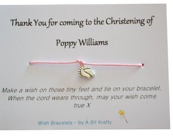 A Bit Krafty Wish Bracelet, 10 x Christening Gift Favour, thank you. Personalised.