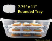 "Sweet Stackers ~ 2  [7.75"" x 11""] Rounded Reusable Trays & 8 Small Risers"