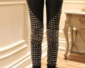 Spiked Leather Pants