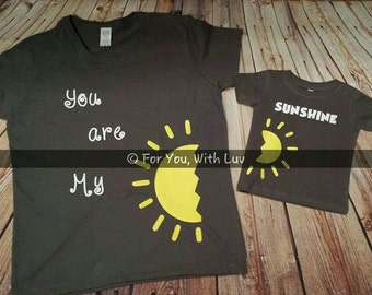 Mommy and me shirts, You are My Sunshine tee shirt set